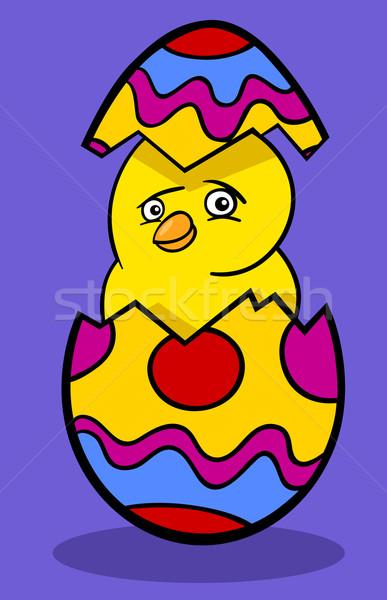 Kip easter egg cartoon illustratie grappig weinig Stockfoto © izakowski
