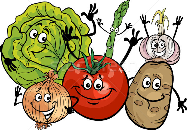 vegetables group cartoon illustration Stock photo © izakowski