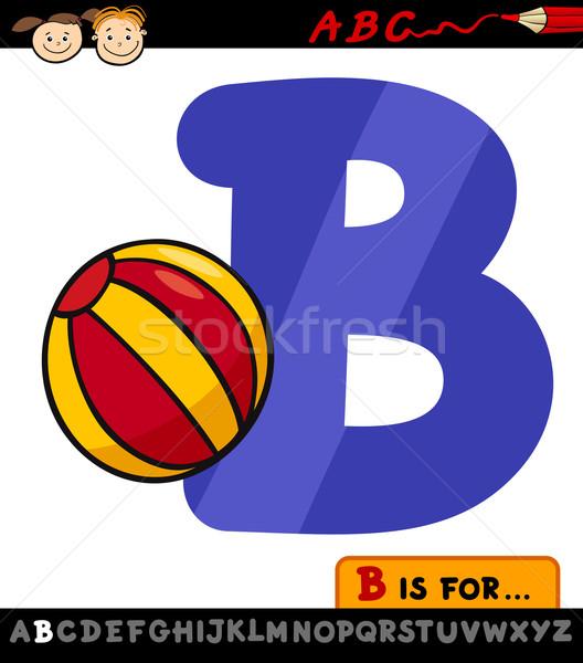 letter b with ball cartoon illustration Stock photo © izakowski