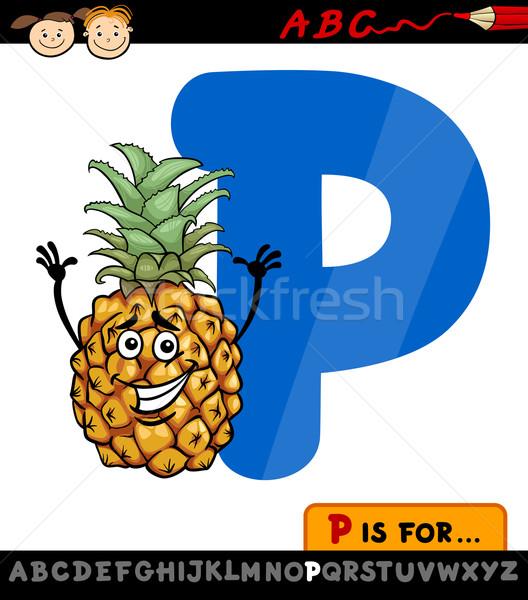 P betű ananász rajz illusztráció nagybetű ábécé Stock fotó © izakowski