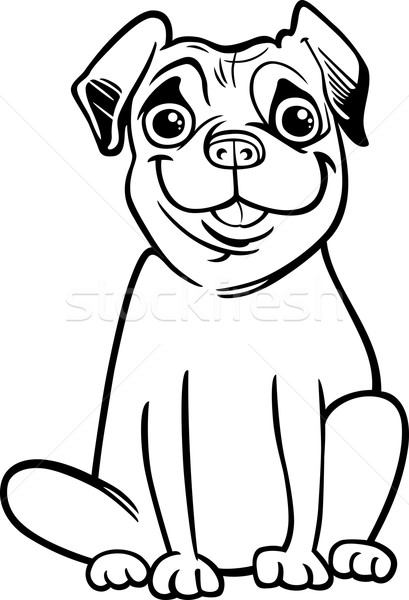 Pug Dog Cartoon For Coloring Book Vector Illustration Igor