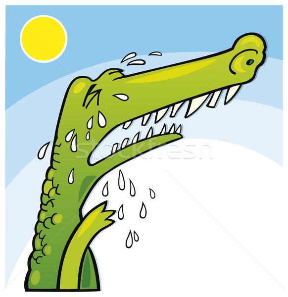 Weinen Krokodil Illustration funny Zähne Schrei Stock foto © izakowski
