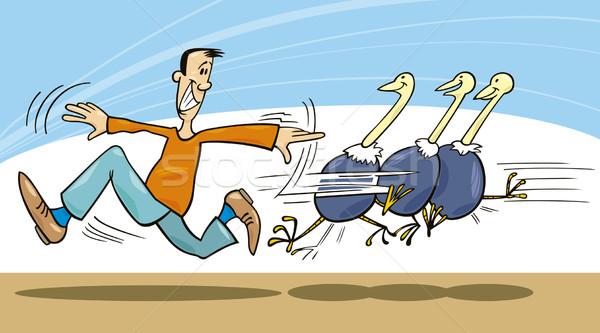 Homem ilustração aprender correr voar animal Foto stock © izakowski