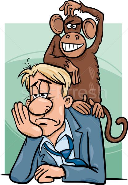 Aap Maakt een reservekopie cartoon humor illustratie gezegde Stockfoto © izakowski