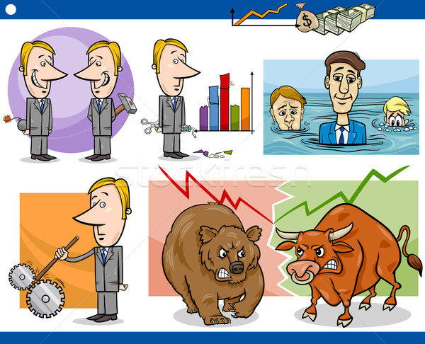 Stock photo: businessmen cartoon concepts set