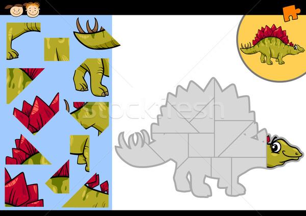 cartoon dinosaur jigsaw puzzle game Stock photo © izakowski