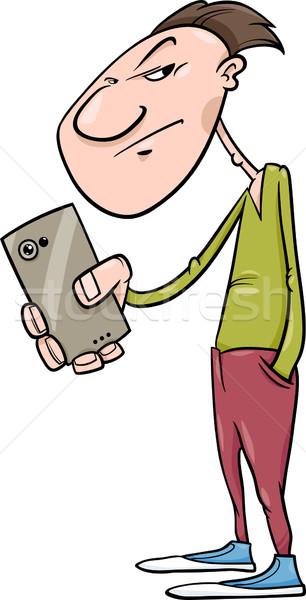 guy shoot with smartphone cartoon Stock photo © izakowski