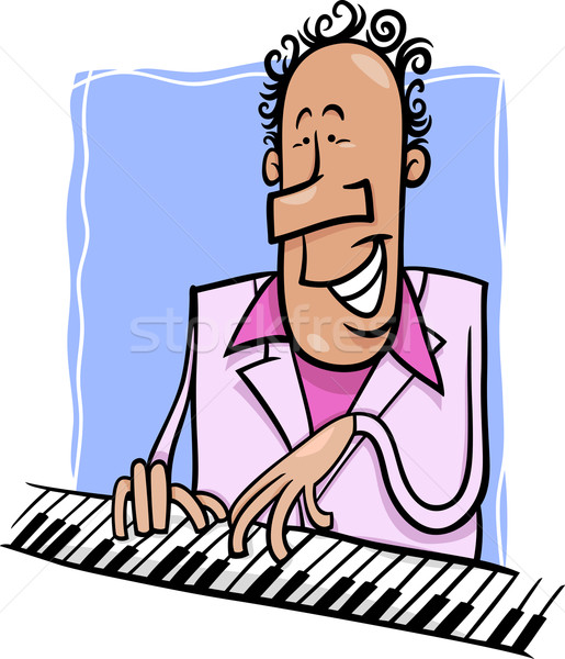 Jazz pianiste cartoon illustration musicien jouer Photo stock © izakowski
