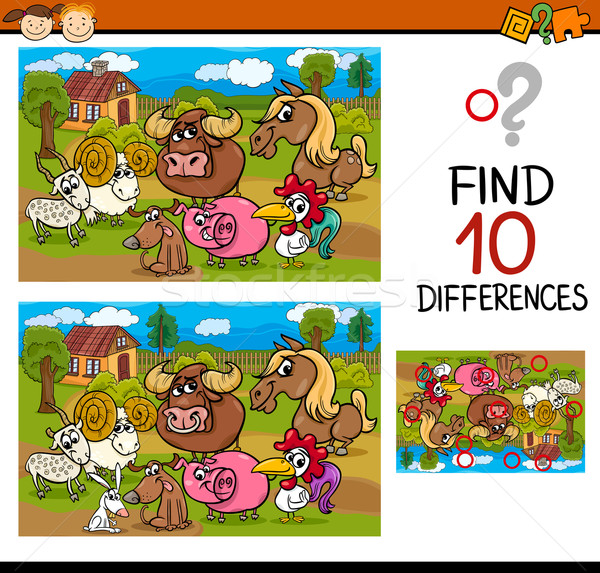 differences task with animals Stock photo © izakowski