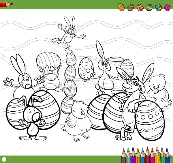 easter characters coloring book Stock photo © izakowski