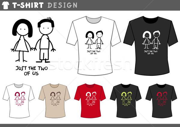 Rövidujjú póló pár illusztráció póló design sablon aranyos Stock fotó © izakowski