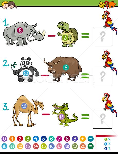 Odejmowanie gry cartoon ilustracja matematyczny Zdjęcia stock © izakowski