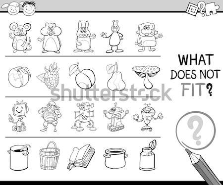 различия игры сладкие блюда черно белые Cartoon иллюстрация Сток-фото © izakowski