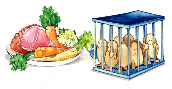 здоровое питание Живопись иллюстрация овощей мяса Сток-фото © izakowski