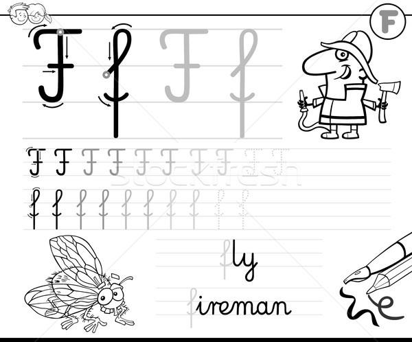 Apprendre écrire lettre f classeur enfants blanc noir Photo stock © izakowski