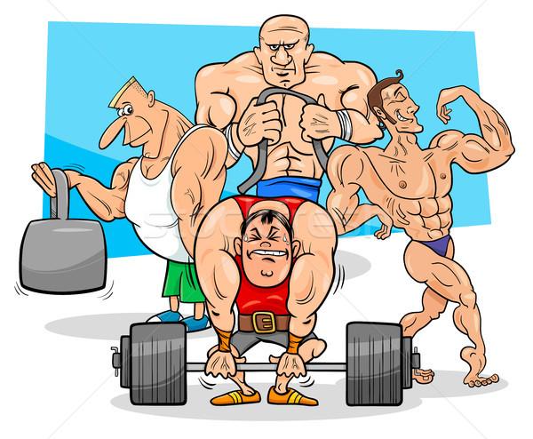 athletes at the gym cartoon illustration Stock photo © izakowski