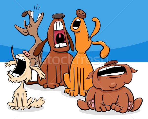 barking or howling dogs cartoon characters group Stock photo © izakowski