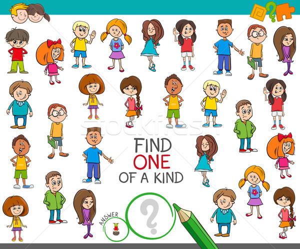 find one of a kind game with children characters Stock photo © izakowski