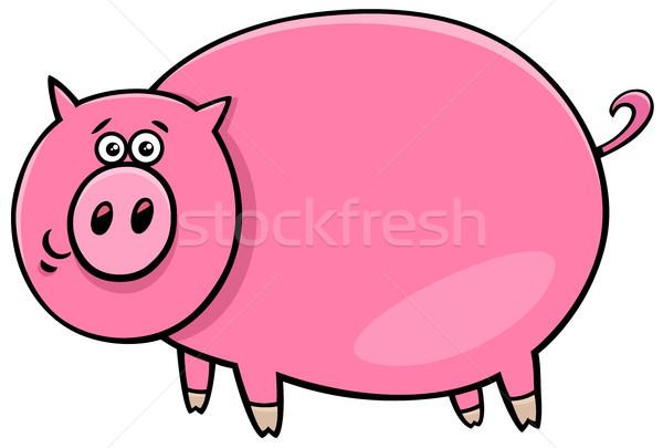 funny comic pig character cartoon illustration Stock photo © izakowski