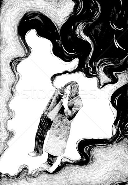 Sigara tiryakisi bulutlar duman çizim örnek adam Stok fotoğraf © izakowski