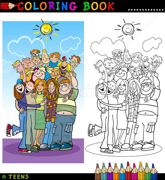 Mutlu Gençler Grup Boyama Kitabı Sayfa Karikatür