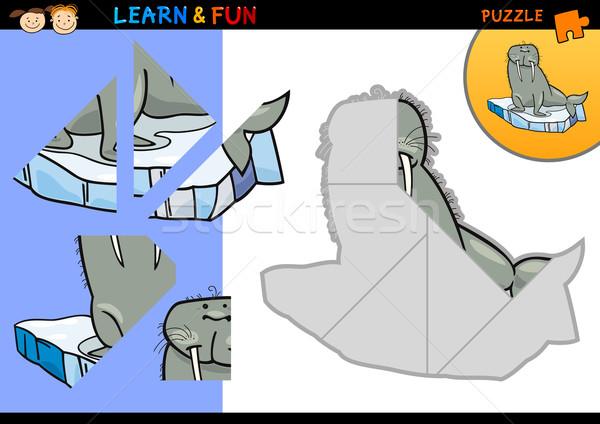 Cartoon морж головоломки игры иллюстрация образование Сток-фото © izakowski