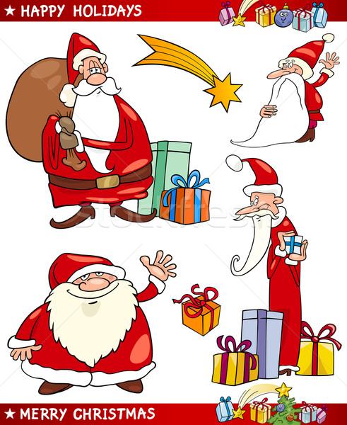 Santa and Christmas Themes Cartoon Set Stock photo © izakowski