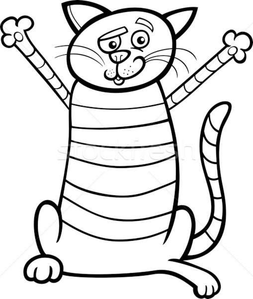 happy cat cartoon for coloring book Stock photo © izakowski