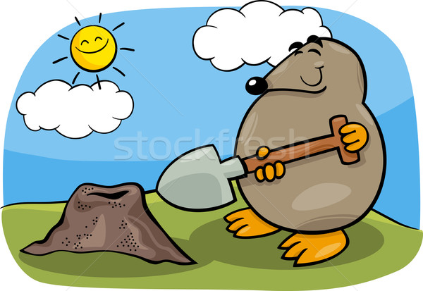 mole with shovel cartoon illustration Stock photo © izakowski