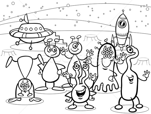 Cartoon ovni groupe livre de coloriage blanc noir illustrations Photo stock © izakowski