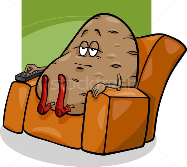 Bank aardappel gezegde cartoon humor illustratie Stockfoto © izakowski