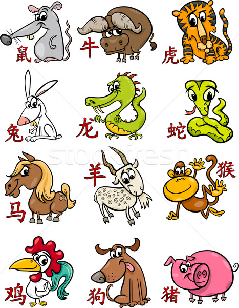 chinese zodiac horoscope signs set Stock photo © izakowski