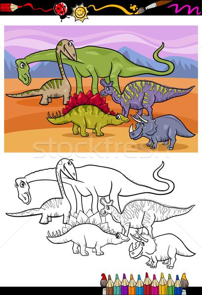 dinosaurs group cartoon coloring book Stock photo © izakowski