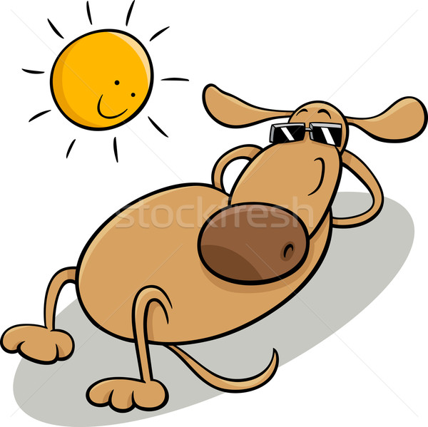 dog taking sunbath cartoon illustration Stock photo © izakowski
