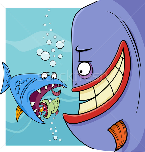 Groter vis gezegde cartoon illustratie humor Stockfoto © izakowski