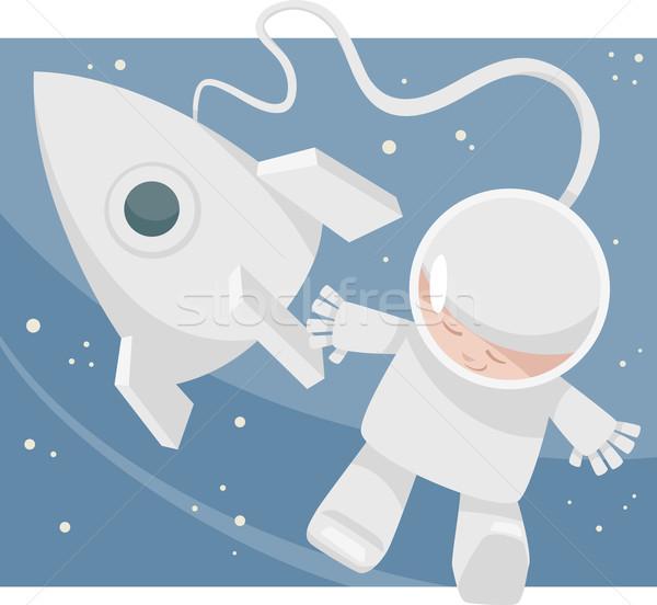 little spaceman cartoon illustration Stock photo © izakowski