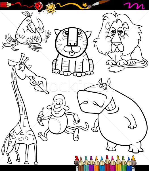 Dieren ingesteld cartoon kleurboek pagina illustratie Stockfoto © izakowski