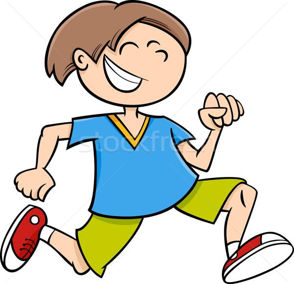 happy running boy cartoon Stock photo © izakowski