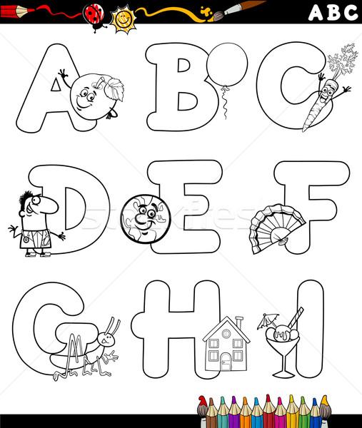 Cartoon алфавит книжка-раскраска черно белые иллюстрация письма Сток-фото © izakowski