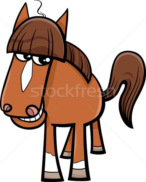 Ló haszonállat rajz illusztráció karakter boldog Stock fotó © izakowski