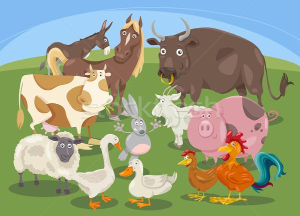 farm animals group cartoon Stock photo © izakowski