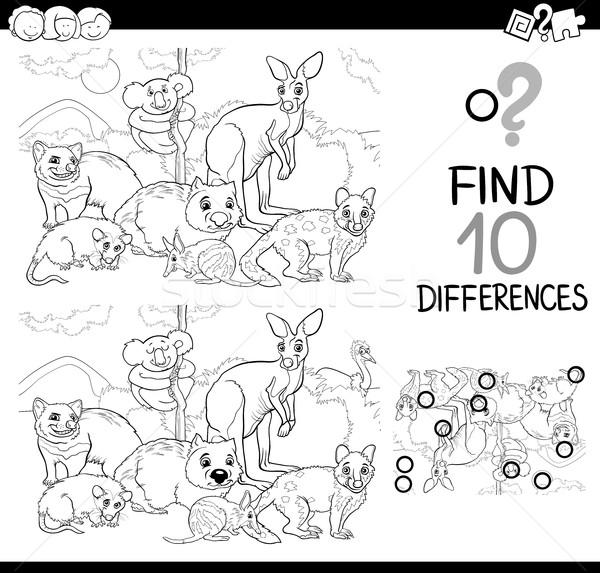 Jogo diferenças animais preto e branco desenho animado ilustração Foto stock © izakowski