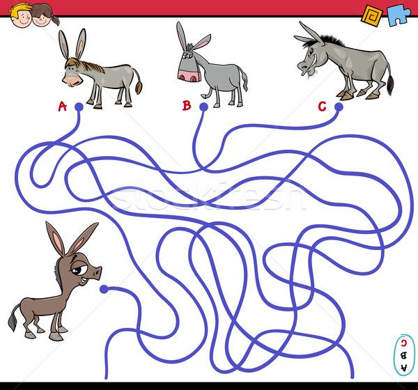 Pad doolhof spel ezel cartoon illustratie Stockfoto © izakowski