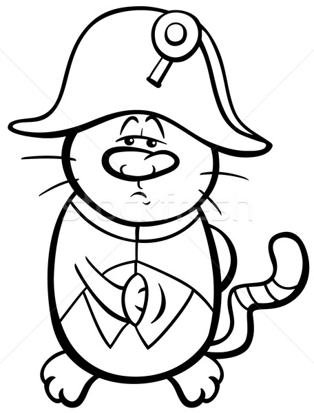 Stock photo: cat and fish coloring page