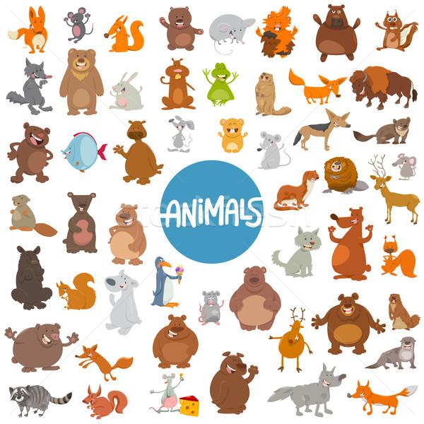cartoon animal characters huge set Stock photo © izakowski