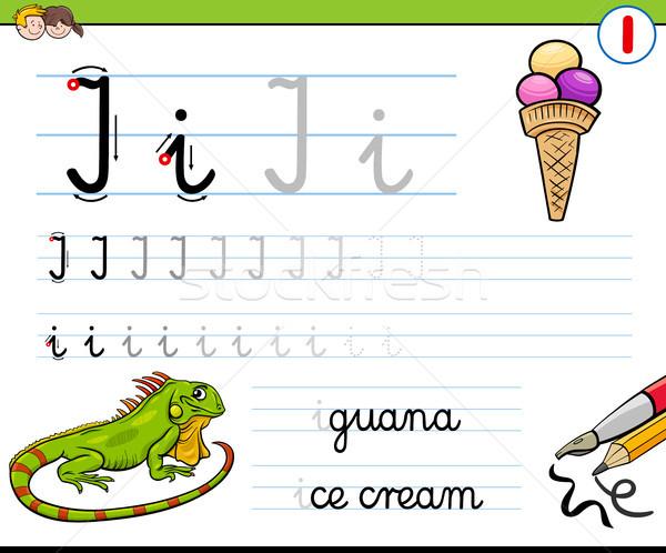 Schrijven letter i kinderen cartoon illustratie schrijven Stockfoto © izakowski