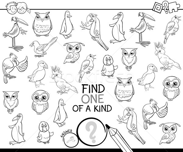 one of a kind game with birds coloring book Stock photo © izakowski