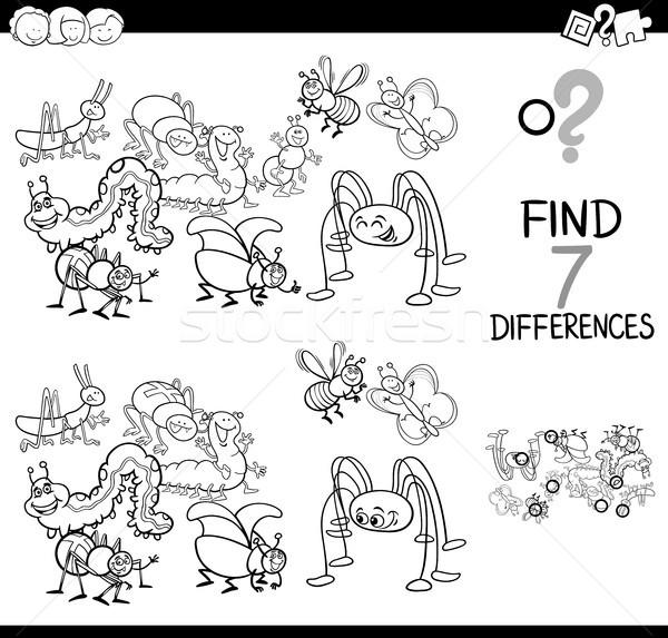 Farklılıklar oyun böcek grup boyama kitabı siyah beyaz Stok fotoğraf © izakowski