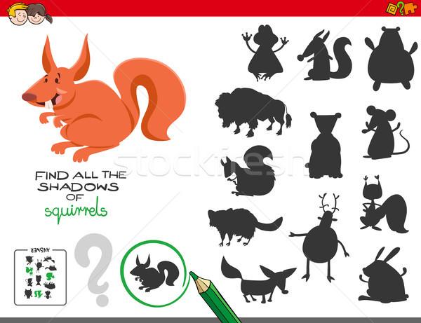 Oktatási árnyékok játék mókusok rajz illusztráció Stock fotó © izakowski