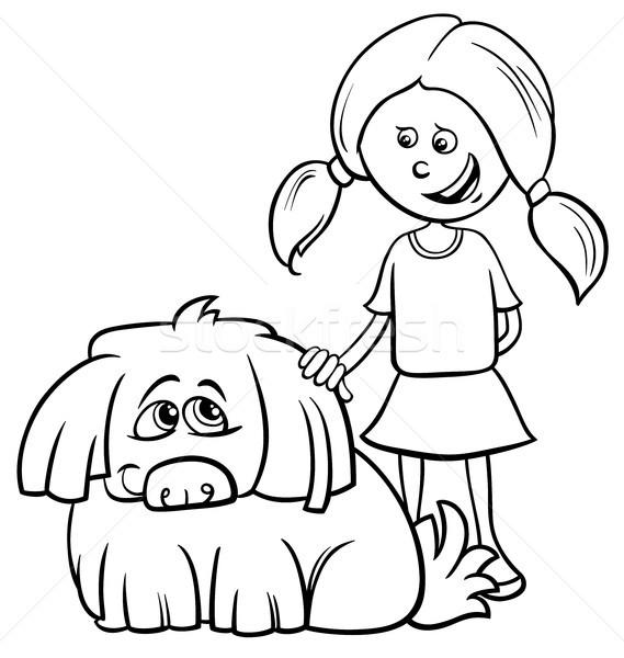 Lány kócos kutya rajz kifestőkönyv feketefehér Stock fotó © izakowski